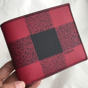 COACH COMPACT 3-IN-1 WALLET WITH BUFFALO CHECK PRINT (RED MULTI/BLACK ANTIQUE NICKEL)