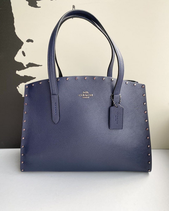 COACH CHARLIE CARRYALL WITH CRYSTAL RIVETS (CADET/GUNMETAL)