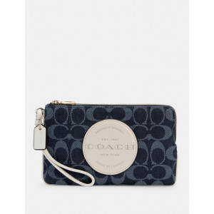 COACH DEMPSEY DOUBLE ZIP WALLET IN SIGNATURE JACQUARD WITH PATCH (IM/DENIM MULTI)