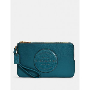 COACH DEMPSEY DOUBLE ZIP WALLET WITH PATCH (IM/TEAL INK)