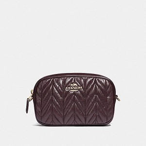 COACH CONVERTIBLE BELT BAG WITH QUILTING (OXBLOOD/GOLD)