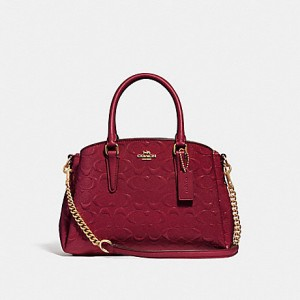 COACH MINI SAGE CARRYALL IN SIGNATURE LEATHER (IM/CHERRY)