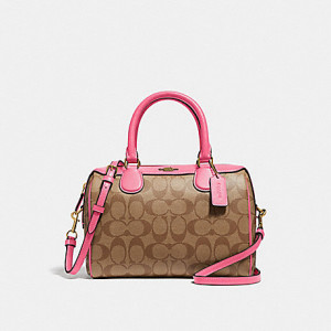 COACH MINI BENNETT SATCHEL IN SIGNATURE CANVAS (KHAKI/PINK RUBY/GOLD)