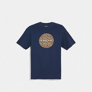 COACH SIGNATURE T-SHIRT (NAVY)
