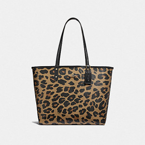 COACH REVERSIBLE CITY TOTE WITH LEOPARD PRINT (BLACK/NATURAL/LIGHT GOLD)