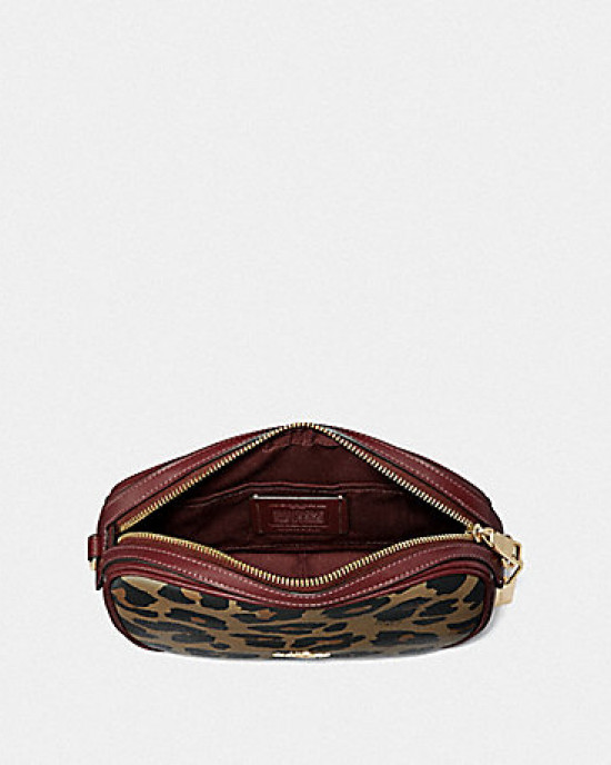 COACH ISLA CHAIN CROSSBODY WITH LEOPARD PRINT (NATURAL/LIGHT GOLD)