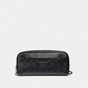 COACH OVERNIGHT TRAVEL KIT IN SIGNATURE CANVAS (BLACK/BLACK/OXBLOOD)