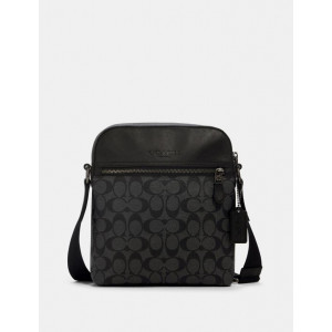 COACH HOUSTON FLIGHT BAG IN SIGNATURE (QB/CHARCOAL/BLACK)