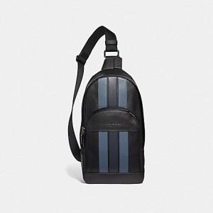 COACH HOUSTON PACK WITH VARSITY STRIPE (BLACK/DENIM/MIDNIGHT NVY/BLACK ANTIQUE NICKEL)