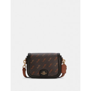 COACH SADDLE BAG WITH HORSE AND CARRIAGE DOT PRINT (IM/BLACK)