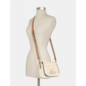 COACH SADDLE BAG WITH HORSE AND CARRIAGE DOT PRINT (IM/CREAM)