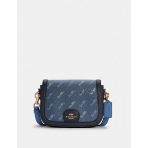 COACH SADDLE BAG WITH HORSE AND CARRIAGE DOT PRINT (IM/DENIM)