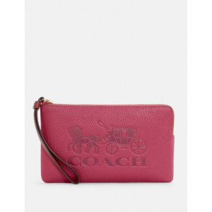 COACH LARGE CORNER ZIP WRISTLET WITH HORSE AND CARRIAGE (IM/BRIGHT VIOLET MULTI)