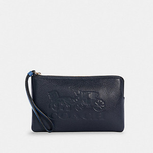 COACH LARGE CORNER ZIP WRISTLET WITH HORSE AND CARRIAGE (IM/MIDNIGHT/SKY BLUE)
