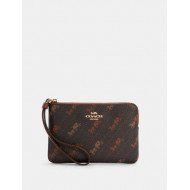 COACH CORNER ZIP WRISTLET WITH HORSE AND CARRIAGE DOT PRINT (IM/BLACK)