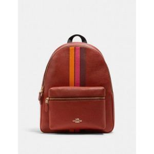 COACH CHARLIE BACKPACK WITH VARSITY STRIPE (IM/TERRACOTTA/ELCTRC PNK MULTI)