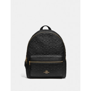 COACH MEDIUM CHARLIE BACKPACK IN SIGNATURE LEATHER (IM/BLACK)