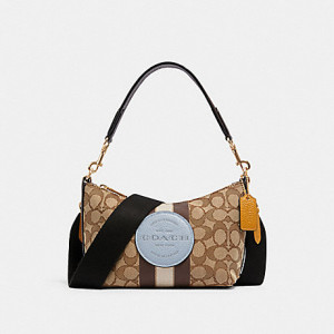 COACH DEMPSEY SHOULDER BAG IN SIGNATURE JACQUARD WITH STRIPE AND PATCH (IM/KHAKI/MIST MULTI) - ETA (ESTIMATED TIME ARRIVAL) 6 DECEMBER