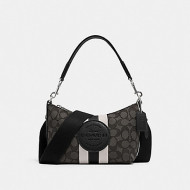 COACH DEMPSEY SHOULDER BAG IN SIGNATURE JACQUARD WITH STRIPE AND PATCH (SV/BLACK SMOKE BLACK MULTI)