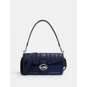 COACH GEORGIE SHOULDER BAG WITH LINEAR QUILTING (SV/COBALT)