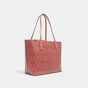 COACH CITY TOTE IN SIGNATURE CANVAS (IM/CANDY PINK)