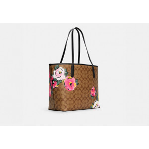COACH CITY TOTE IN SIGNATURE CANVAS WITH VINTAGE ROSE PRINT (SV/KHAKI MULTI)
