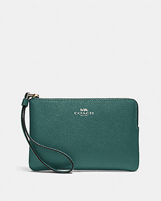 COACH CORNER ZIP WRISTLET IN CROSSGRAIN LEATHER (SILVER/DARK TURQUOISE)
