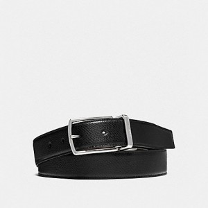 COACH MODERN HARNESS CUT-TO-SIZE REVERSIBLE SMOOTH LEATHER BELT (BLACK/DARK BROWN)