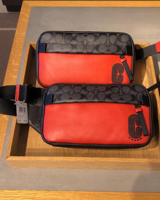 COACH EDGE BELT BAG IN SIGNATURE COLORBLOCK (QB/SPORT RED/CHARCOAL)