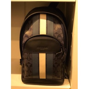 COACH HOUSTON PACK IN SIGNATURE CANVAS WITH VARSITY STRIPE (CHARCOAL)