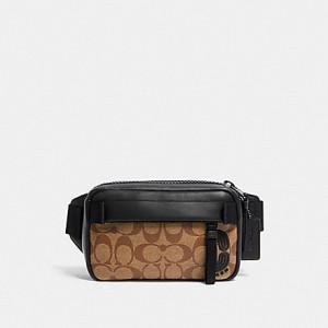 COACH MINI EDGE BELT BAG IN SIGNATURE CANVAS (QB/TAN)