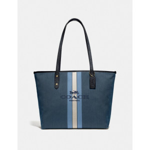 COACH CITY ZIP TOTE WITH HORSE AND CARRIAGE (GD/BLUE MIDNIGHT NAVY)