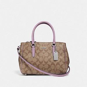 COACH MINI SURREY CARRYALL IN SIGNATURE  (SV/KHAKI/JASMINE)