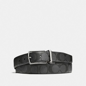 COACH MODERN HARNESS CUT-TO-SIZE REVERSIBLE SIGNATURE COATED CANVAS BELT (CHARCOAL/BLACK)