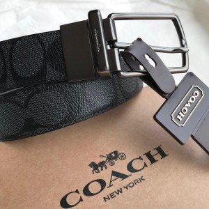 COACH MODERN HARNESS CUT-TO-SIZE REVERSIBLE SIGNATURE COATED CANVAS BELT (CHARCOAL)