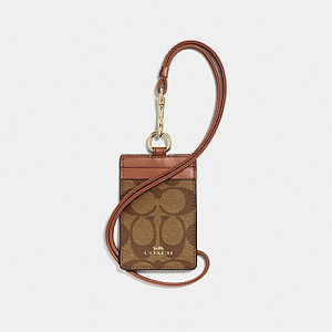 COACH ID LANYARD IN SIGNATURE CANVAS (KHAKI/SADDLE/LIGHT GOLD)