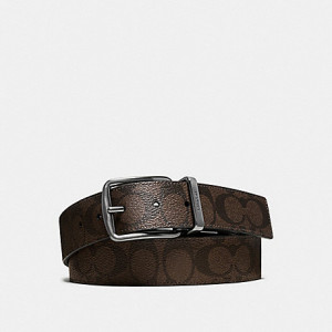 COACH WIDE HARNESS CUT-TO-SIZE REVERSIBLE SIGNATURE COATED CANVAS BELT (MAHOGANY/BROWN)