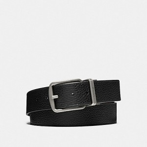 COACH WIDE HARNESS CUT-TO-SIZE REVERSIBLE PEBBLE LEATHER BELT (BLACK/DARK BROWN)