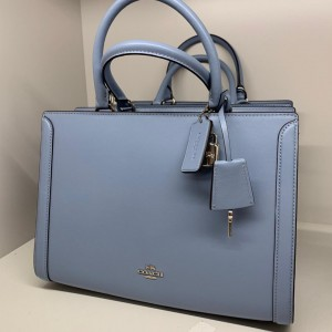 COACH SMALL ZOE LEATHER CARRYALL (CORNFLOWER/SILVER)