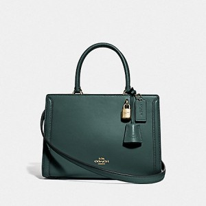 COACH SMALL ZOE LEATHER CARRYALL (EVERGREEN)