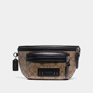 COACH TERRAIN BELT BAG IN SIGNATURE CANVAS (TAN/BLACK ANTIQUE NICKEL)