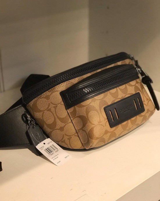 COACH TERRAIN BELT BAG IN SIGNATURE CANVAS (TAN/BLACK ANTIQUE NICKEL)