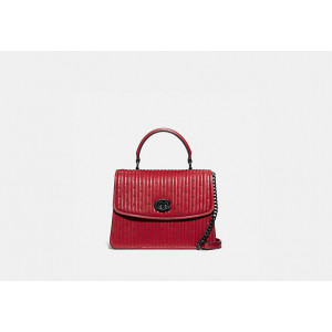 COACH PARKER TOP HANDLE WITH QUILTING AND RIVERTS (RED APPLE)