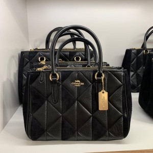 COACH MINI SURREY CARRYALL WITH PATCHWORK (BLACK)