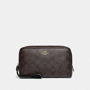 COACH BOXY COSMTC CASE IN SIGNATURE CANVAS (IM/BROWN/BLACK)
