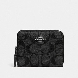 COACH SMALL DOUBLE ZIP AROUND WALLET IN SIGNATURE CANVAS (BLACK SMOKE/BLACK/SILVER)
