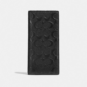 COACH BREAST POCKET WALLET IN SIGNATURE CROSSGRAIN LEATHER (BLACK)