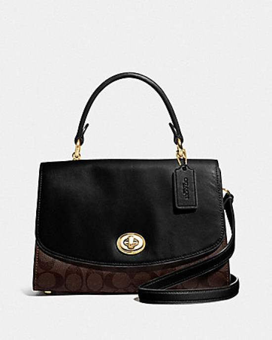 COACH TILLY TOP HANDLE SATCHEL WITH SIGNATURE CANVAS (IM/BROWN/BLACK)