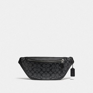 COACH WARREN BELT BAG IN SIGNATURE (CHARCOAL/BLACK/BLACK ANTIQUE NICKEL)