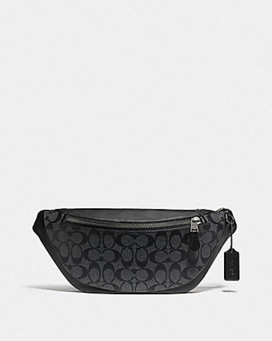 COACH WARREN BELT BAG IN SIGNATURE (CHARCOAL/BLACK/BLACK ANTIQUE NICKEL)